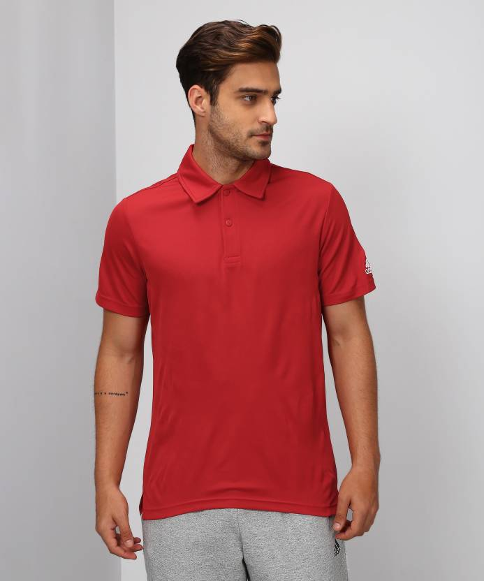 9154d6a6 ADIDAS Solid Men's Polo Neck Red T-Shirt - Buy Red ADIDAS Solid Men's Polo  Neck Red T-Shirt Online at Best Prices in India | Flipkart.com