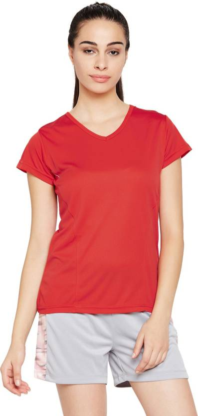 da623fc735 T10 Sports Solid Women V-neck Red T-Shirt - Buy T10 Sports Solid Women V-neck  Red T-Shirt Online at Best Prices in India | Flipkart.com