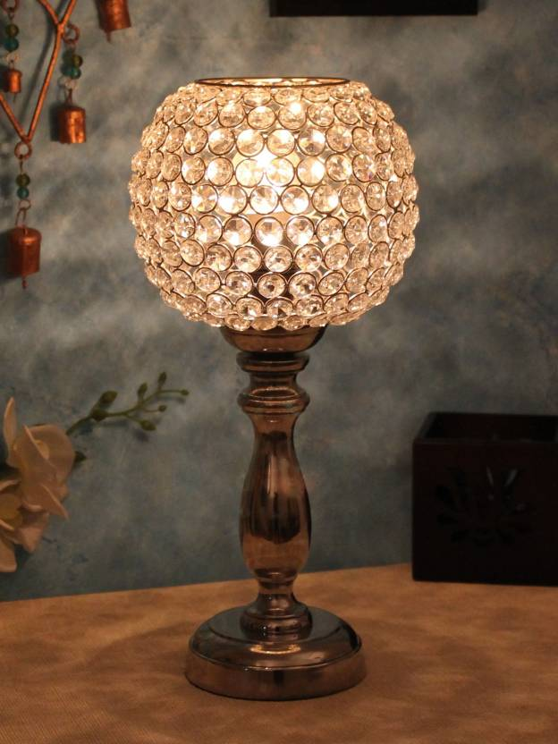 Home Sparkle Globe Shaped Crystal Silver Table Lamp Table Lamp Price