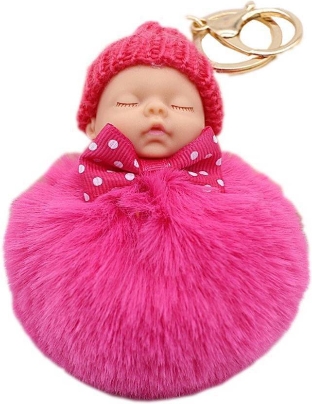 DALUCI Cute Fluffy Rabbit Ball Fur Pompom Sleeping Baby Doll Women -Rose  Red Key Chain Price in India - Buy DALUCI Cute Fluffy Rabbit Ball Fur  Pompom ... 85565fd438afd