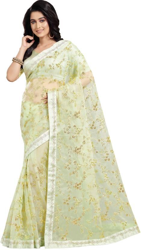 9e1943d6a7 Buy Patang International Embroidered Bollywood Organza Yellow Sarees ...