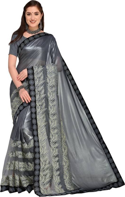7460d4d907 Saara Embroidered Bollywood Shimmer Fabric, Lycra, Net Saree (Grey)