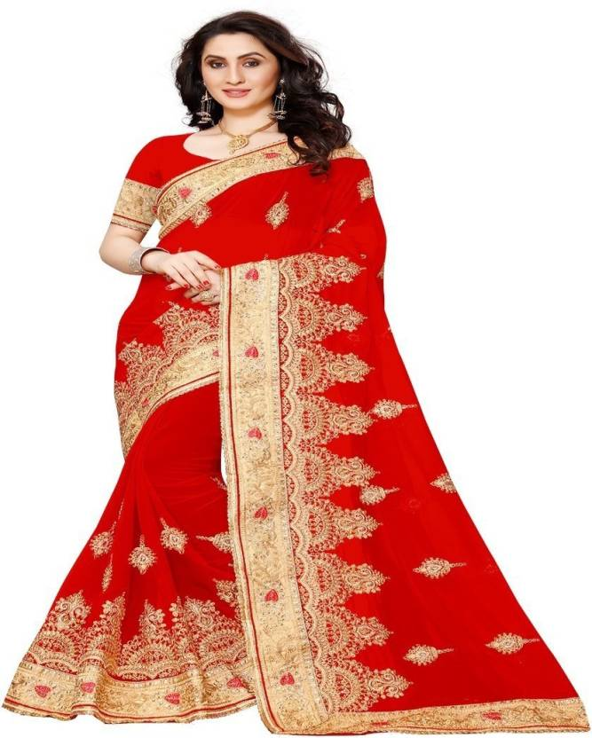 Buy Availkart Embroidered, Applique Fashion Georgette Red Sarees