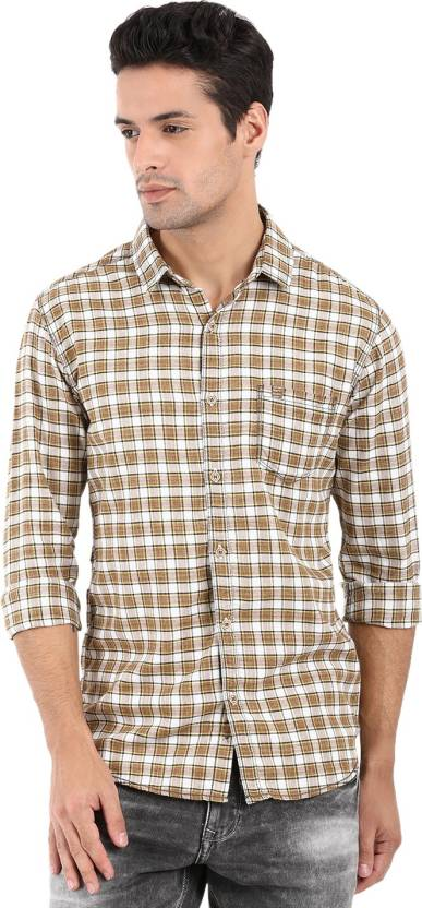 651190a74af Mufti Men Checkered Casual Beige Shirt - Buy Mufti Men Checkered Casual  Beige Shirt Online at Best Prices in India