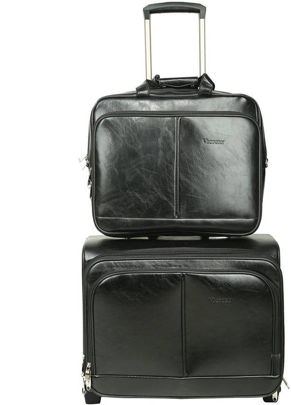9555601b5790 PRAGEE Exclusive Black PU Leather Office Laptop Trolley Bag Expandable  Cabin Luggage - 20 inch