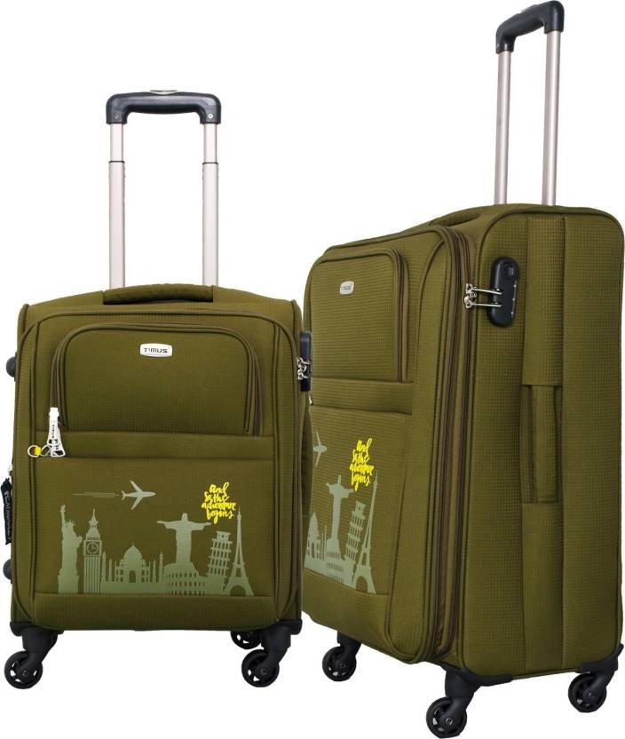 4c373ae03 Timus SALSA 55 & 65 CM Military Green 4 Wheel Trolley Suitcase For Travel  Set of 2 (Check-in Luggage) Expandable Check-in Luggage - 25 inch (Green)