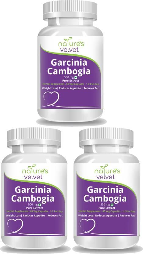 Natures Velvet Lifecare Garcinia Cambogia Pure Extract 500 Mg 60 Veggie Capsules Pack Of 3