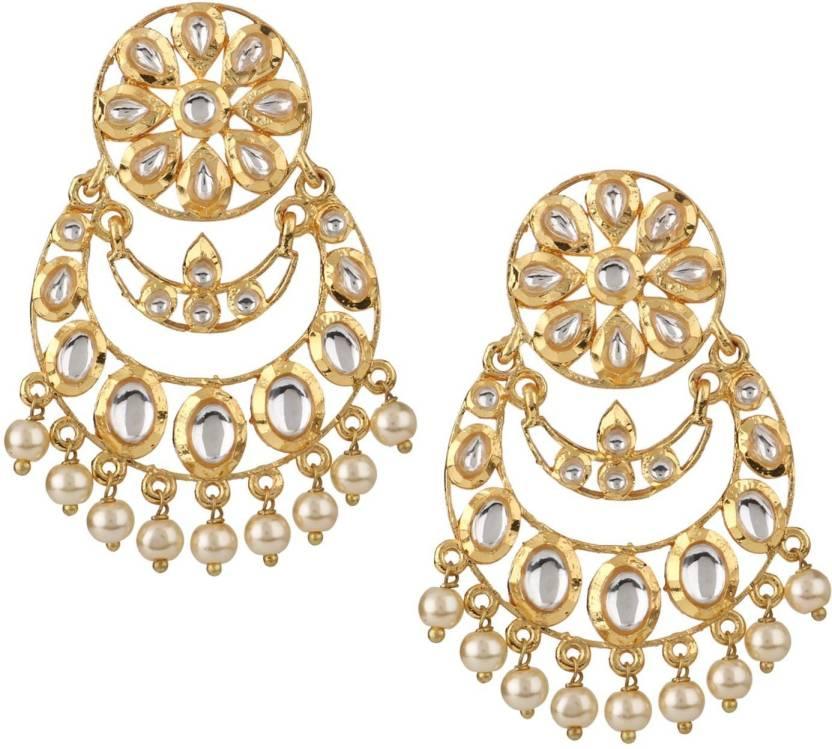 9827765dc75 Efulgenz Efulgenz Jewellery Stylish Gold Plated Kundan Pearl Drop Fashion  Wedding Party Wear Chandbali Danglers Earrings