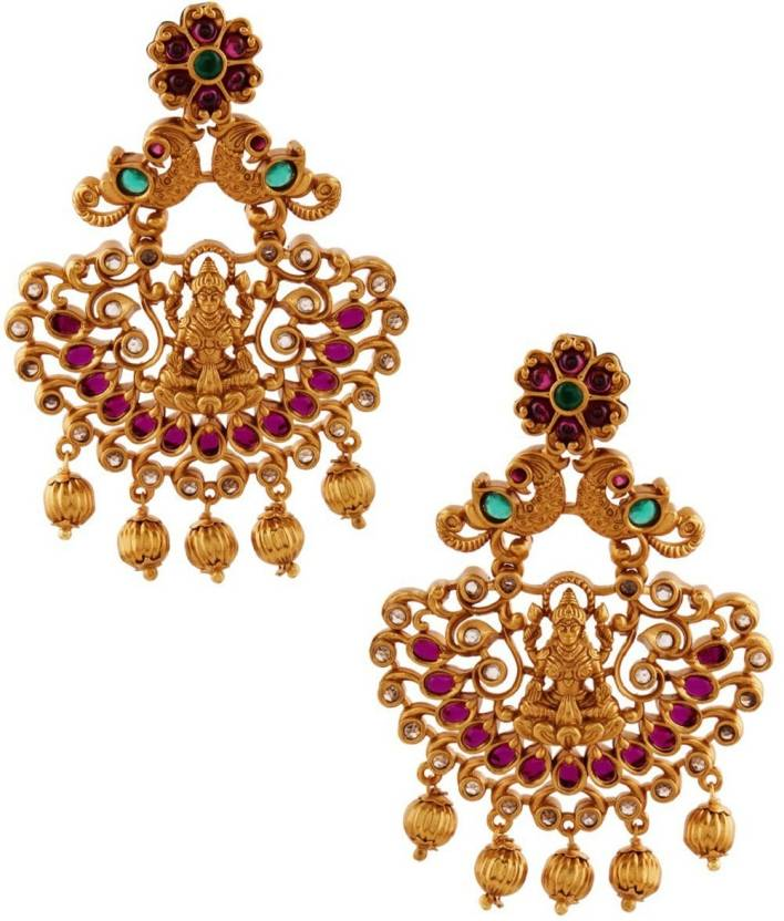 b669d97ab Flipkart.com - Buy RUBANS Finely Handcrafted Gold Plated CZ And Ruby Studded  Chandbali Earrings Metal Dangle Earring Online at Best Prices in India