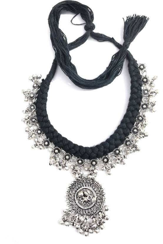369c2c075 athizay Handmade Antique Ladies Black Thread Tribal Necklace silver  oxidised with Rose bead Metal Beads woven