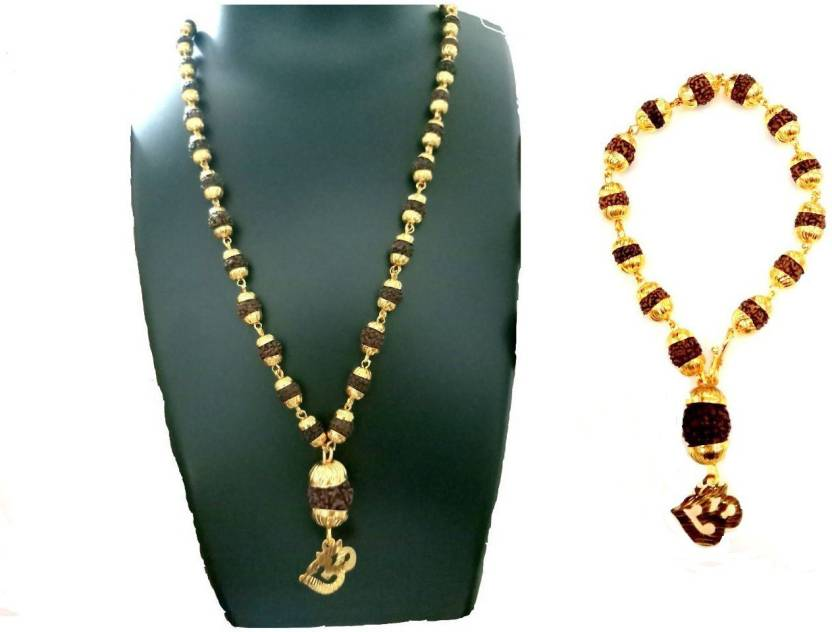 7c756b2599c6 JS Combo Pack Rudraksha Mala With Om Rudraksha Pendant For men women girls  and Boys Gold-plated Plated Brass Chain Price in India - Buy JS Combo Pack  ...