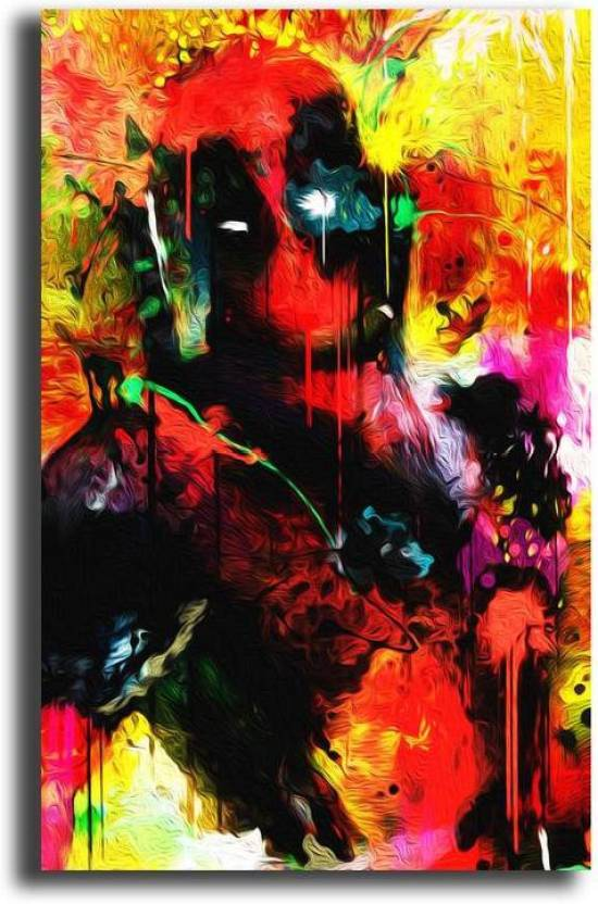 Pixelartz Pixelartz Canvas Painting Deadpool 23 X 35 Without