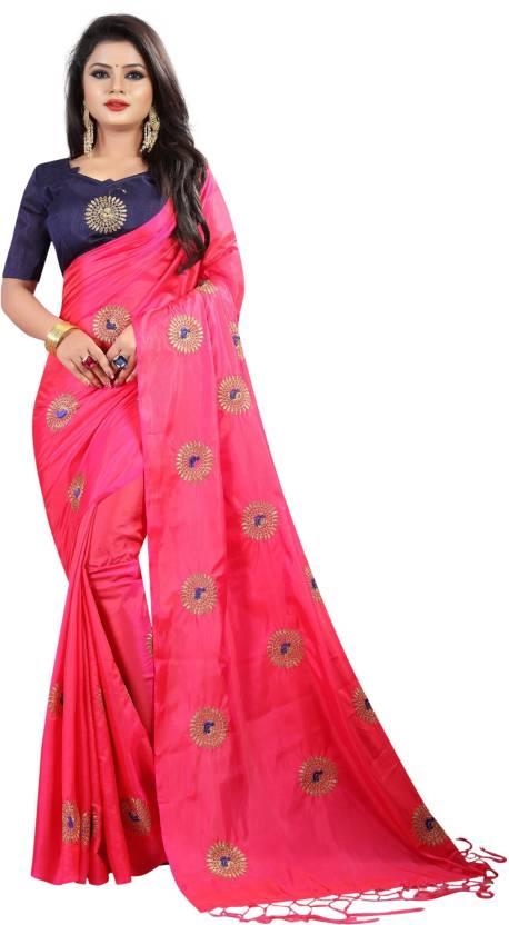 bd9815745ae8da Buy HashTag Fashion Embroidered Fashion Silk, Pure Silk Pink Sarees ...