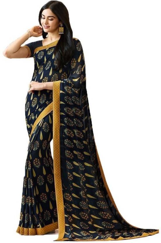 c59b611d6381df Buy Arth Creation Printed Fashion Georgette Black Sarees Online ...