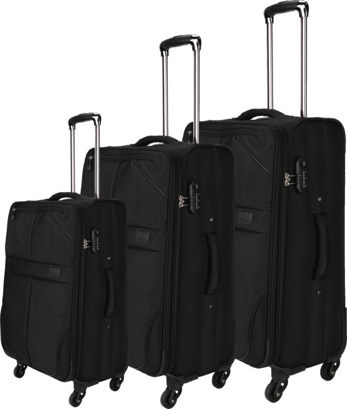 4d802825ebe5 Nasher Miles Brunei Soft-Sided Luggage Set of 3 Black  Trolley/Travel/Tourist Bags (55, 65 & 75 Cm) Expandable Check-in Luggage -  28 inch