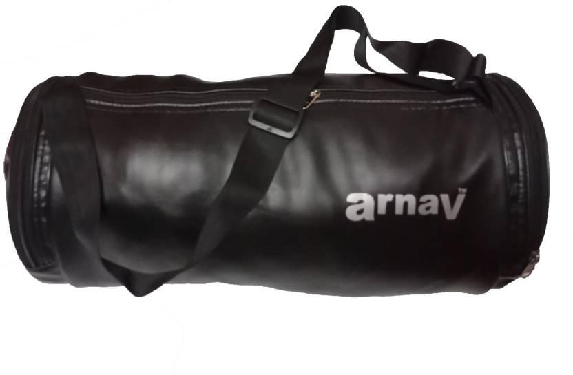 ff96a9d35935 Arnav Stylish Leather Round Black Plain Duffel Bag Suitable for Sports  Travel Gym Bag (Black)