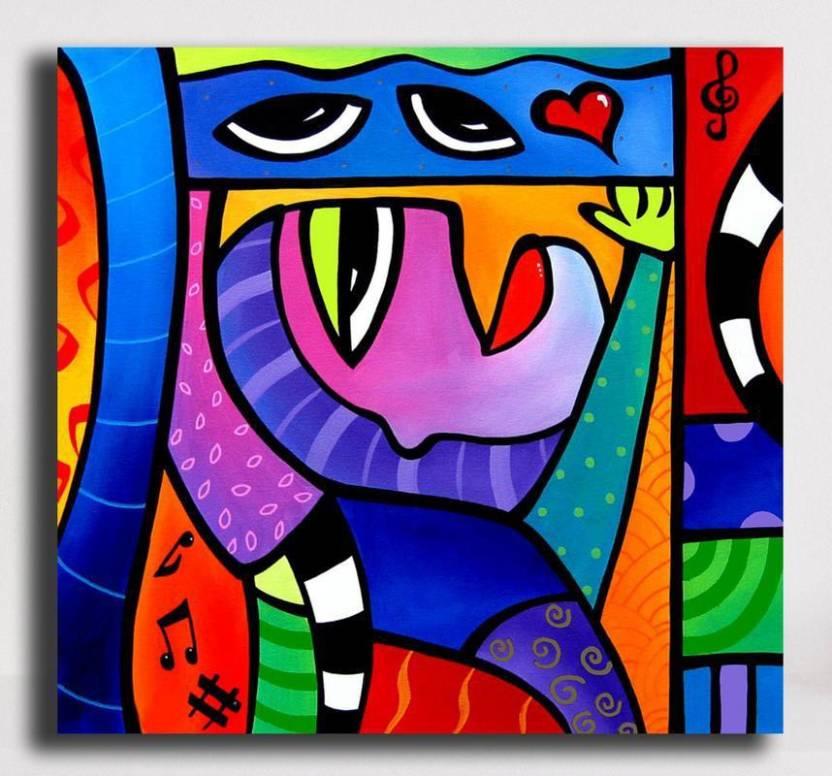 Pixelartz Canvas Painting Abstract Pop Art 35 X 35 Without