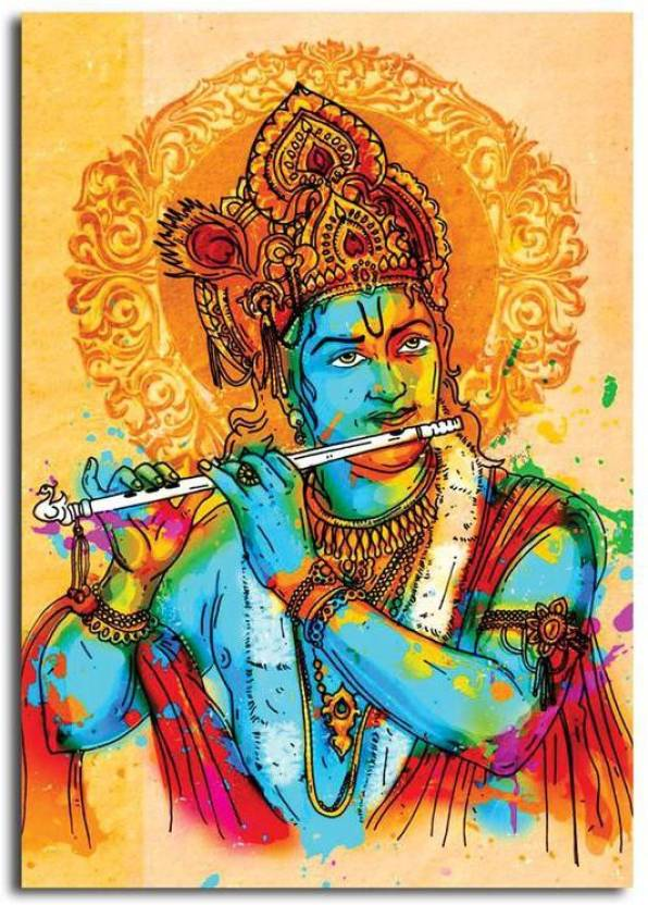 Pixelartz Canvas Painting Jai Sri Krishna Abstract Relgious