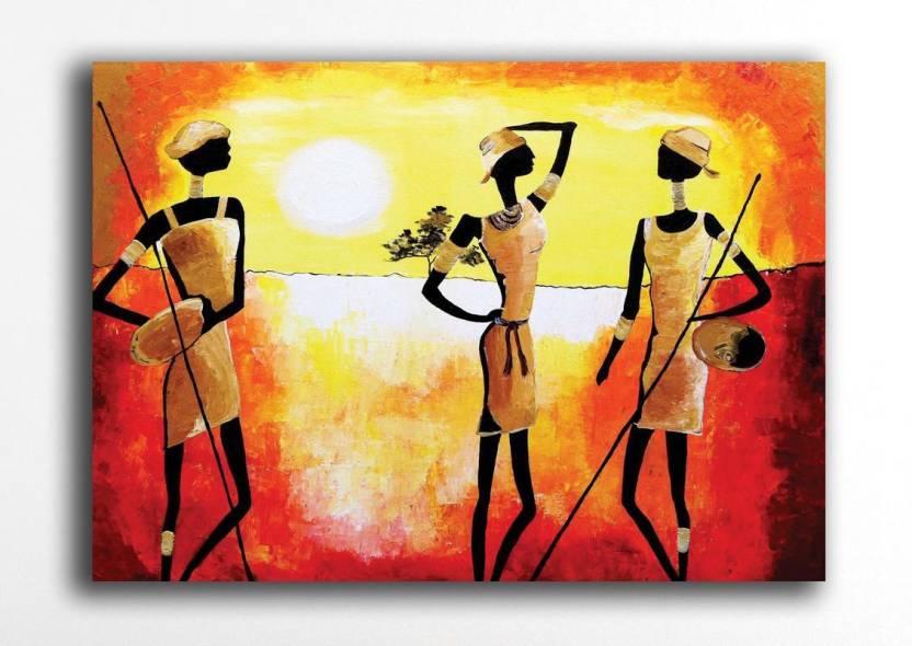 Pixelartz Canvas Painting Rajasthani Portrait 9 X 12 Without