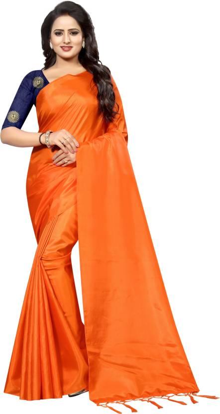 a04e4ca91efa4 Buy GJKheni Plain Bollywood Pure Silk Orange Sarees Online   Best ...