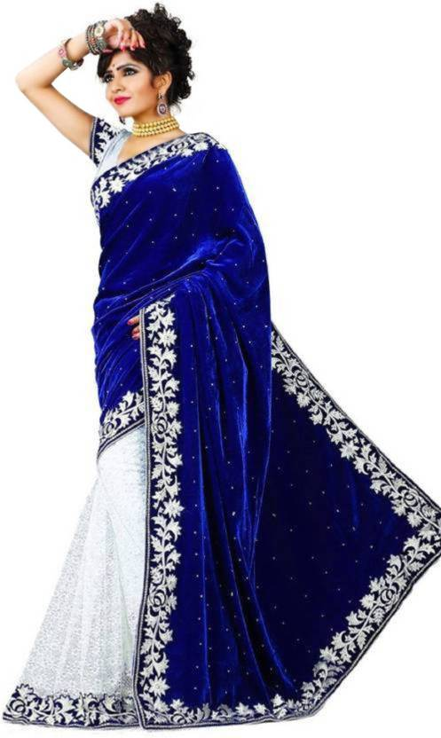a00f2f21966f83 Royal Blue Velvet Saree Blouse - Image Of Blouse and Pocket
