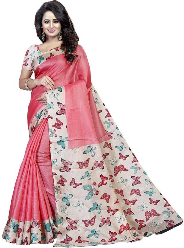 d5b53227c Buy Vishnu Creations Printed Bhagalpuri Cotton Silk Pink Sarees ...