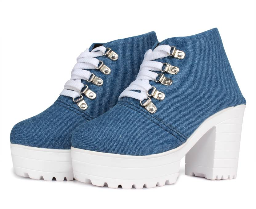 e3416e579bfd Flaunters High Heels Ice Blue Denim Fabric Shoes Casuals For Women (Blue)