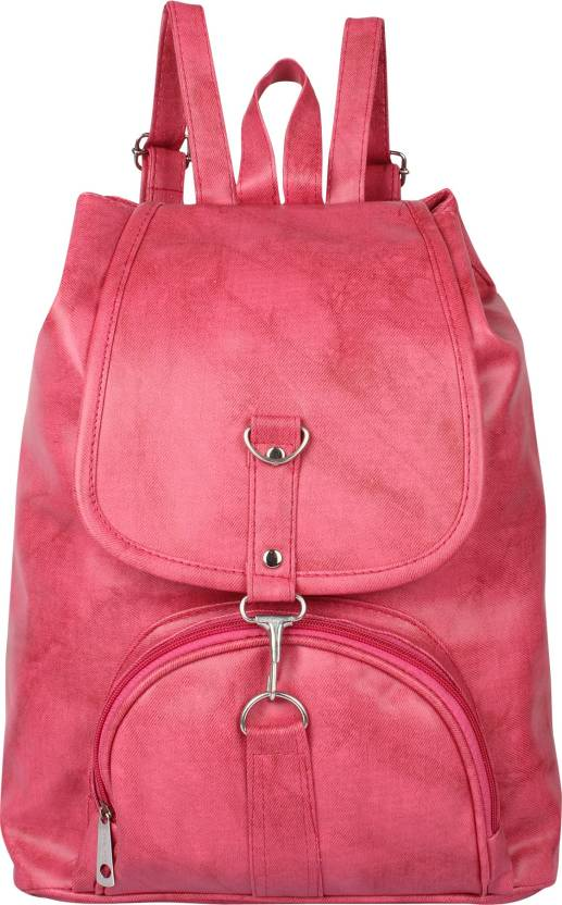 37fb5ec15bb5 Rajni Fashion Girls Stylish PU Leather Backpack School Bag Student Backpack  Women Travel bag Tuition Bag 10 L Backpack (Pink)