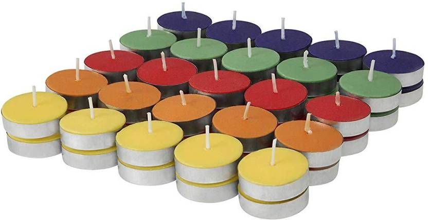 Shrih Colored Wax Tealight Candles (Set of 50, Unscented ...