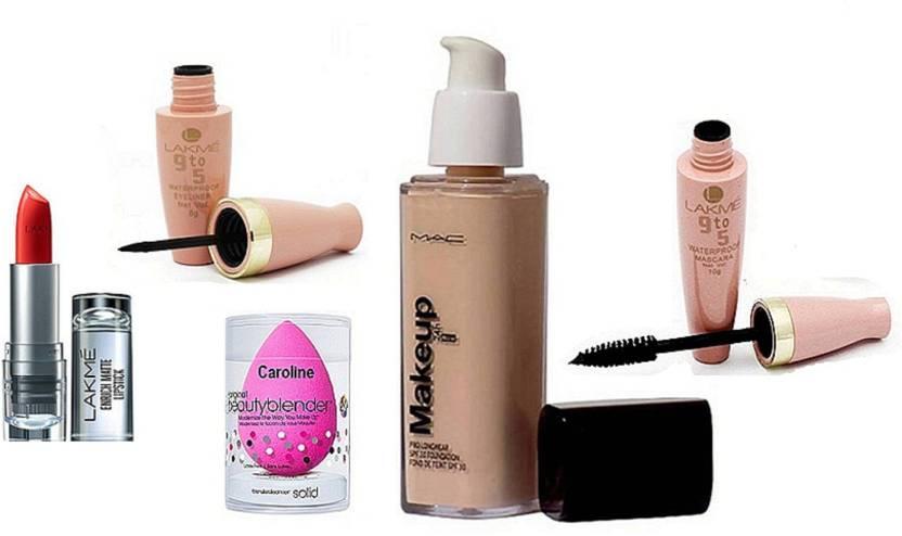 caroline Sponge Puff, Mac Makeup Pro Long Wear Foundation, Lakme 9to5 Liquid Eyeliner& Mascara& 9to5 Enrich Matte Lipstick (Set of 5)