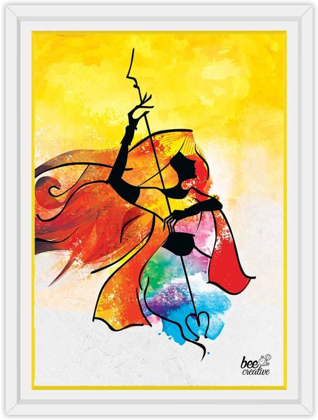 Bee Creative Maa Durga 25 17 Inches White Framed Art Ink