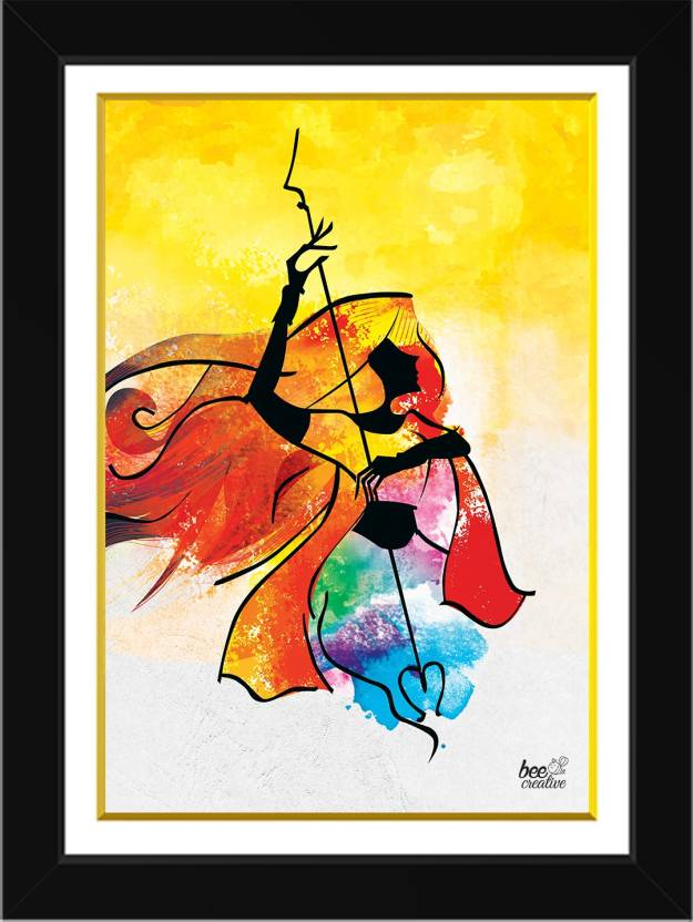 Bee Creative Maa Durga 18 14 Inches Black Framed Art Ink 18 Inch X