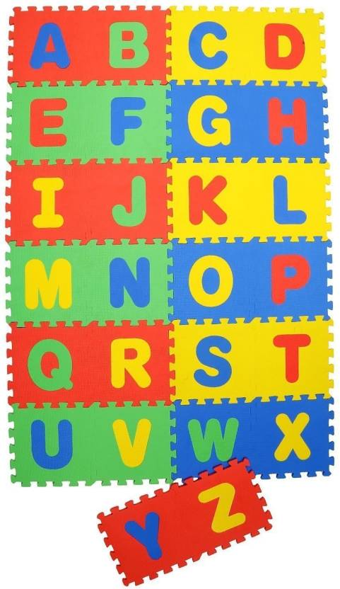 Wishkey 26 Pieces Alphabet Puzzle Mat for kids|English Alphabet A to Z Learning Educational Toys|Non Toxic Large Puzzle Floor EVA Foam Interlocking Mat for ...