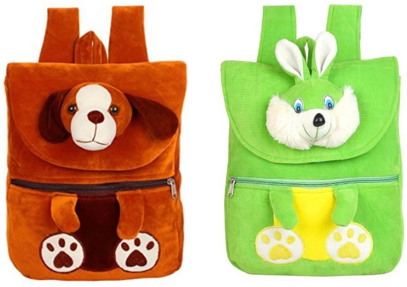 MINITREES Brown Dog   Green Rabbit Combo Kids School Nursery Picnic Carry Travelling  Bag 82157f3051f9b