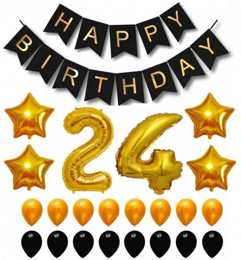 Theme My Party Happy Birthday Balloons Supplies Decorations Set Black Gold 24th Year Price In India