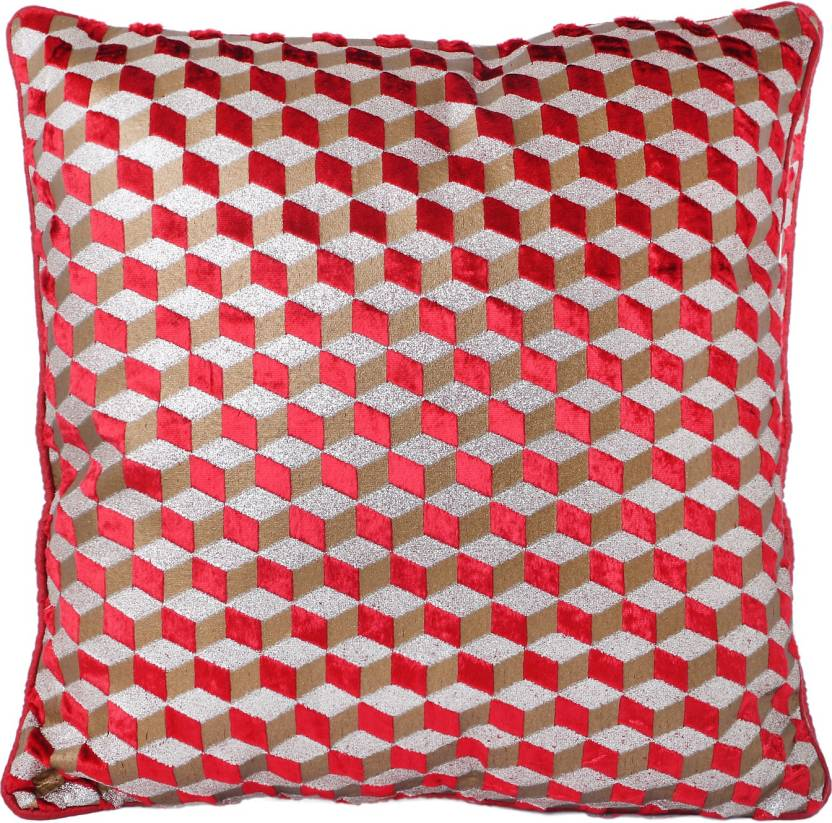 Westend Retails Checkered Cushions Cover Pack Of 5 40 Red Gold