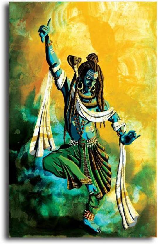 pixelartz canvas painting lord shiva tandav without frame