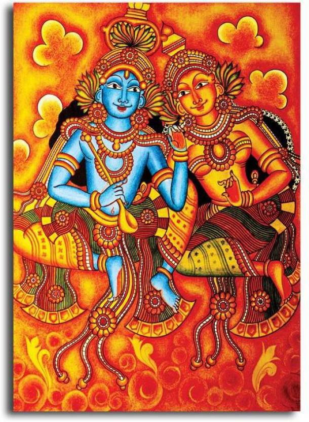 Pixelartz Canvas Painting Radha Krishna Mural Painting Without