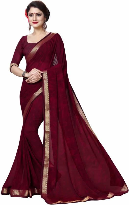 aa6b74c78668 Buy Oomph! Printed Fashion Georgette Maroon Sarees Online @ Best ...