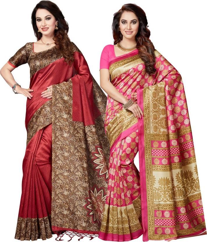 ecefd64425c Ishin Printed Bollywood Poly Silk Saree (Pack of 2