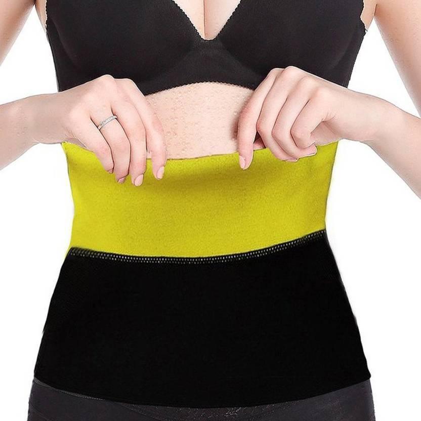 f13b4f0445 KGDA MEDIUM Size hot shaper Sweet Sweat Belt Waist Trimmer Belt Fat Burner  Belly Sauna Sweat Tummy Yoga Body Wrap for waist Slimming Belt (Black)