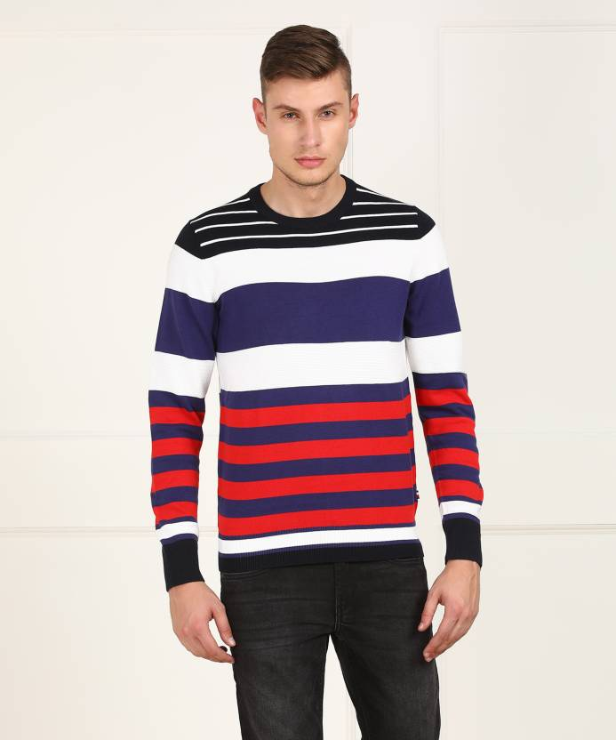 b0d0b9406879c5 Tommy Hilfiger Striped Round Neck Casual Men Multicolor Sweater - Buy Tommy  Hilfiger Striped Round Neck Casual Men Multicolor Sweater Online at Best  Prices ...