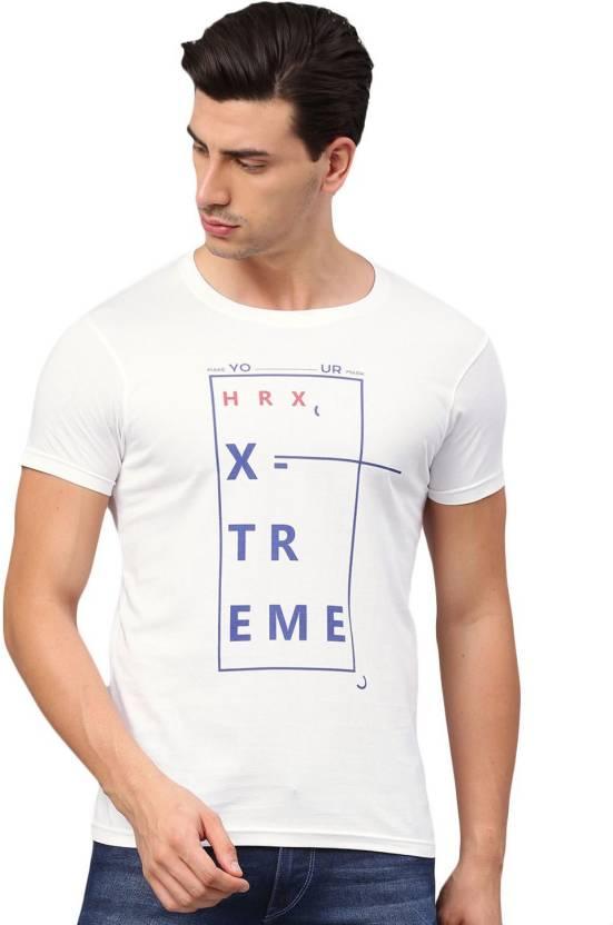 8ec96afd HRX by Hrithik Roshan Graphic Print Men Round Neck White T-Shirt ...