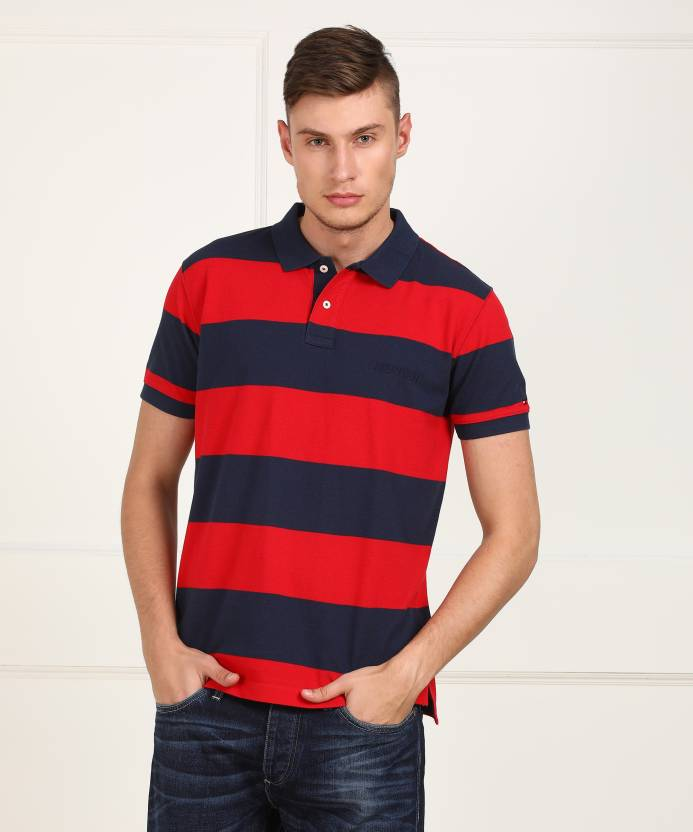 0811bde2 Tommy Hilfiger Striped Men Polo Neck Red, Dark Blue T-Shirt - Buy Tommy  Hilfiger Striped Men Polo Neck Red, Dark Blue T-Shirt Online at Best Prices  in India ...