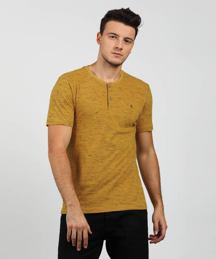 78b0c1ea43 LP Jeans by Louis Philippe Solid Men s Henley Yellow T-Shirt - Buy Mustard LP  Jeans by Louis Philippe Solid Men s Henley Yellow T-Shirt Online at Best ...