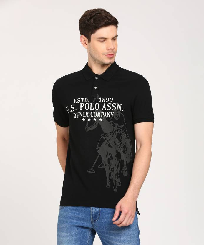 15273922 U.S. Polo Assn Graphic Print Men Polo Neck Black T-Shirt - Buy U.S. Polo  Assn Graphic Print Men Polo Neck Black T-Shirt Online at Best Prices in  India ...