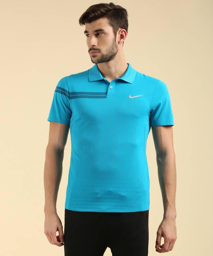 cc76ec7b4136d5 Nike Self Design Men s Polo Neck Light Blue T-Shirt - Buy BLUE Nike Self  Design Men s Polo Neck Light Blue T-Shirt Online at Best Prices in India ...