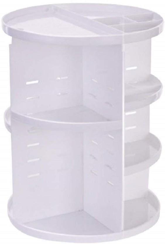 SYGA 360 Degree Rotating Makeup Organizer And Storage Box Adjustable  Multi Function Rack Cosmetic Case (White) Makeup Vanity Box (White)