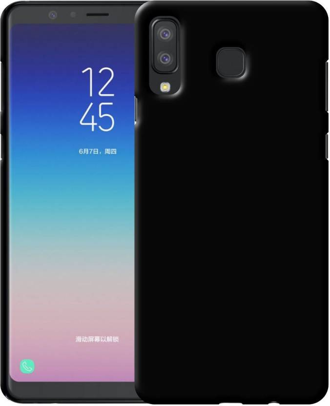 Case Creation Back Cover for Samsung Galaxy A8 Star 2018 (Dark Pitch Black, Grip Case, Rubber)