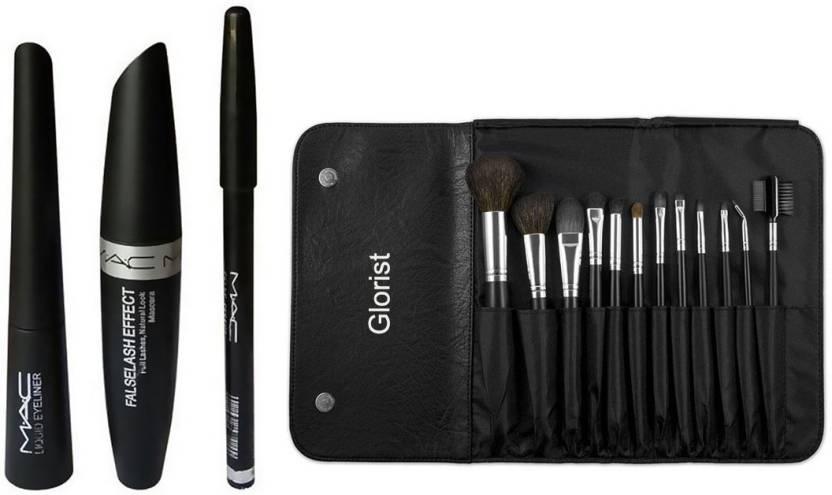 glorist 12 Peice Makeup Brush Set & MAC Liquid Eye Liner & Mac Mascara & Mac Eyebrow Pencil (MAC 3 in 1) (Set of 15)